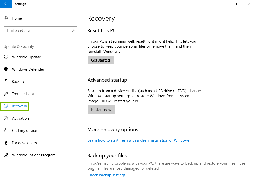 Update and security settings with recover highlighted.