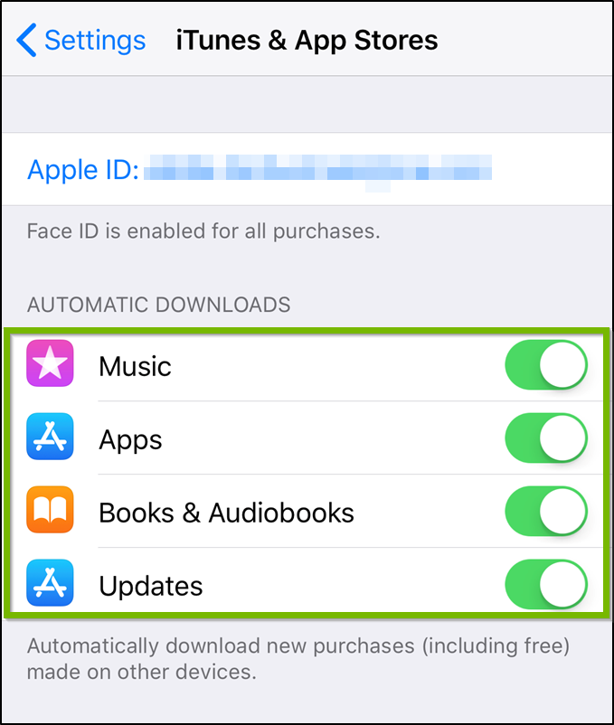 iTunes and app store settings highlighting the toggle switches within.