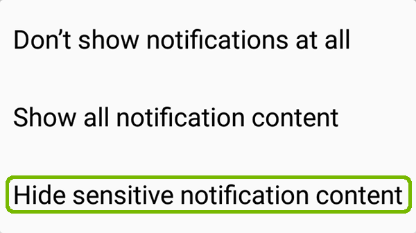 Configuration menu with Hide sensitive notification content highlighted.