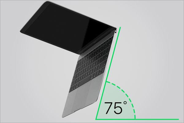 Notebook being held at a 75-degree angle.