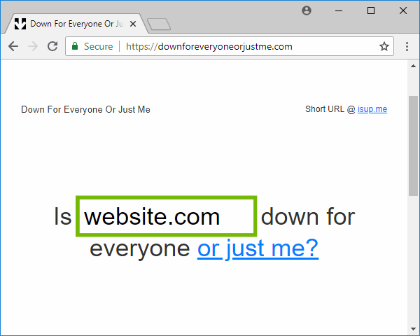 Down For Everyone Or Just Me page with website entry box highlighted.