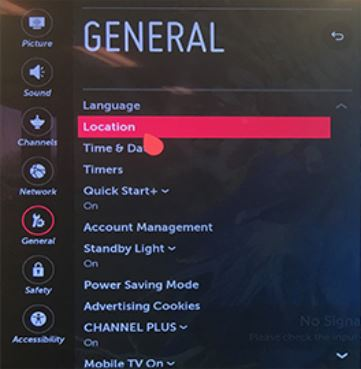 Location option selected in General settings.