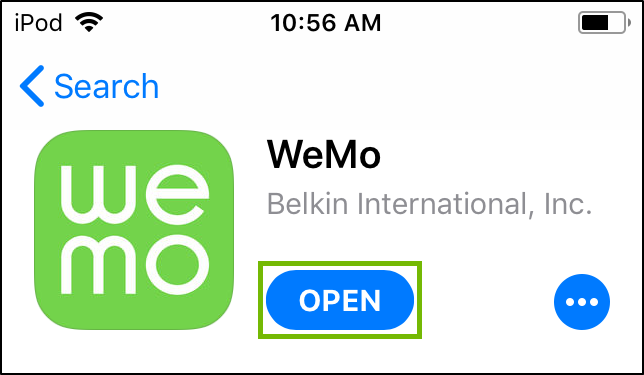 WeMo App Store page with Open highlighted.