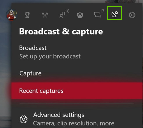 Selecting the broadcast tab
