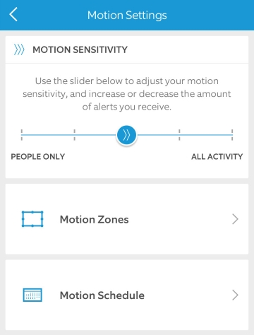 Mobile app motion settings screen.