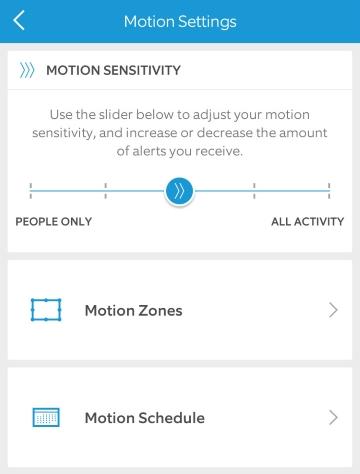 Mobile app motion settings screen.