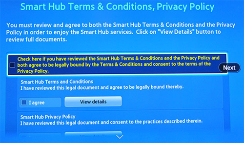 Samsung Smart Hub terms and conditions.