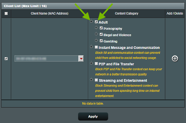 Plus sign and checkbox pointed out in Parental Controls configuration screen of ASUS router web interface.