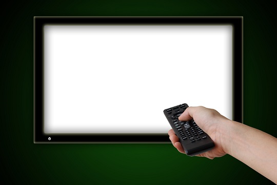 TV being turned off with a remote