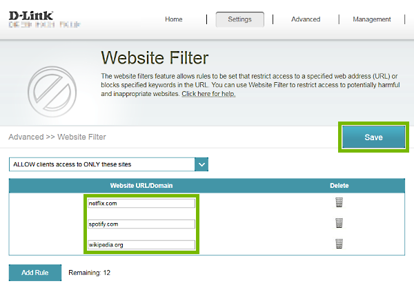 Web address/keyword entry fields and Save button highlighted on Website Filter page of D-Link router web interface.