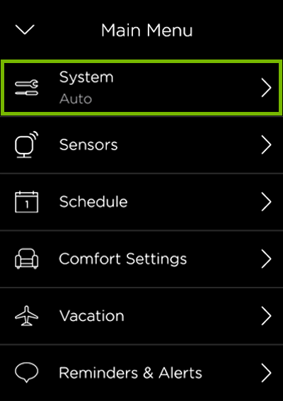 System option highlighted in ecobee menu.