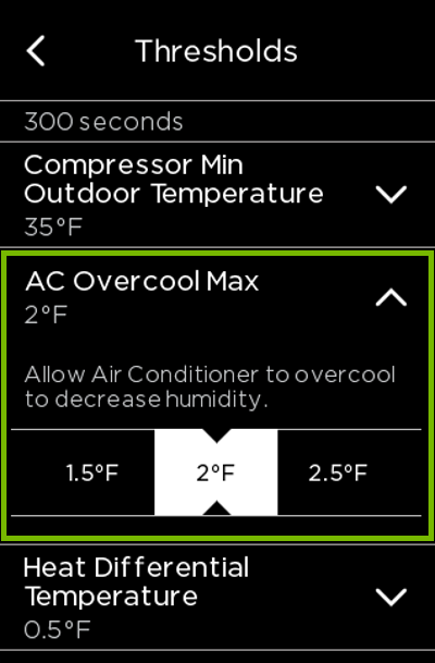 AC Overcool Max option highlighted in ecobee settings.