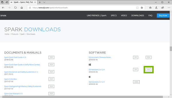 DJI downloads page with EXE highlighted. Screenshot
