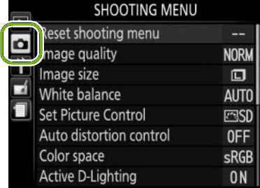 menu with shooting highlighted