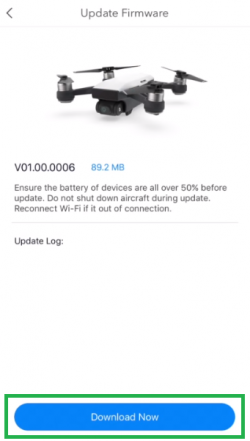 DJI App showing the download now button