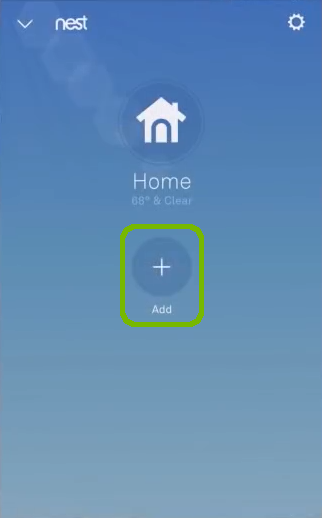 Nest app with Add highlighted.