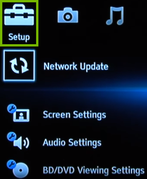 Blu-ray menu with highlighted options