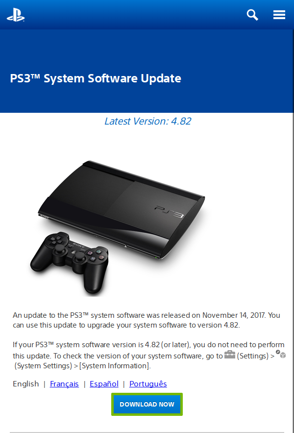 PlayStation 3 Update website with Download Now button highlighted.