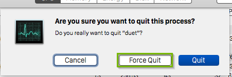 Confirmation prompt with force quit button highlighted.