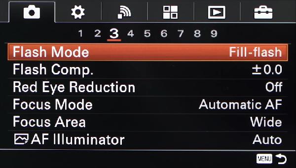 Fill-flash option highlighted in camera menu.