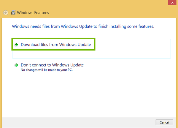 Windows Feature install dialog with Download from Windows Update highlighted.