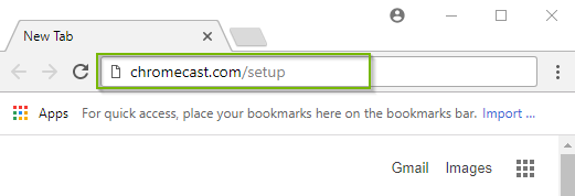 Browser window with chromecast.com/setup in the address bar, highlighted