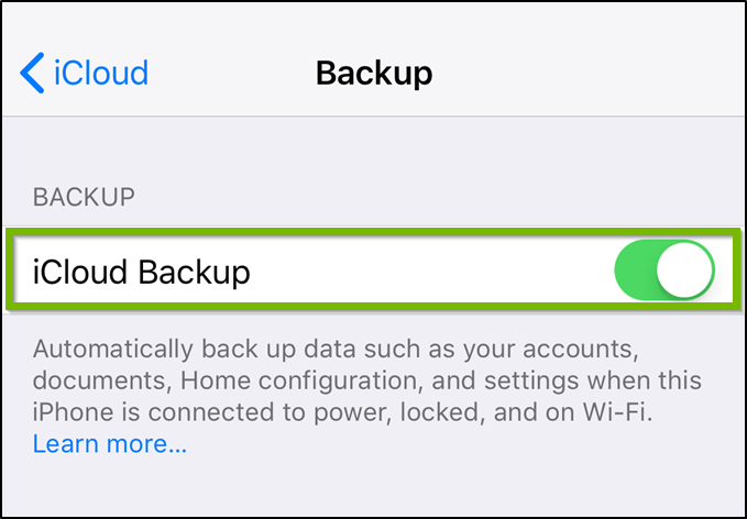 iOS iCloud backup settings highlighting the on off toggle switch.