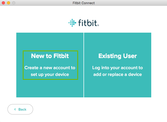 Fitbit app with New to Fitbit highlighted