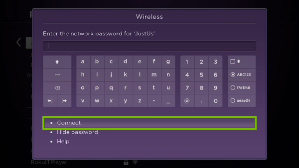 Connect option highlighted on Wi-Fi password entry screen.