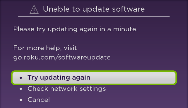 Try updating again option highlighted on Software Update Error screen.