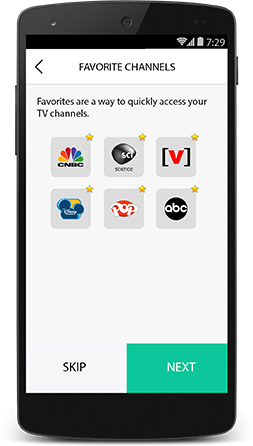 Harmony app allowing the user to set up favorite channels.