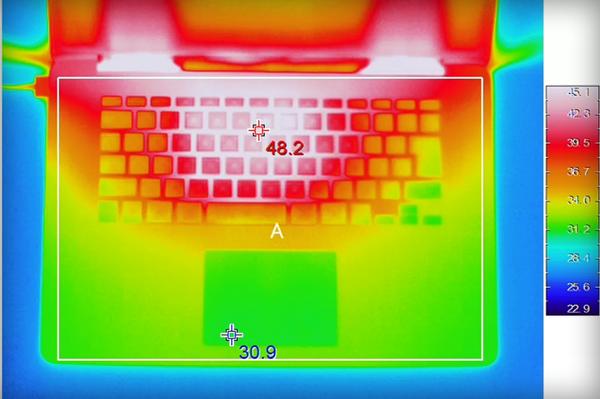 Infrared heat map of a MacBook.