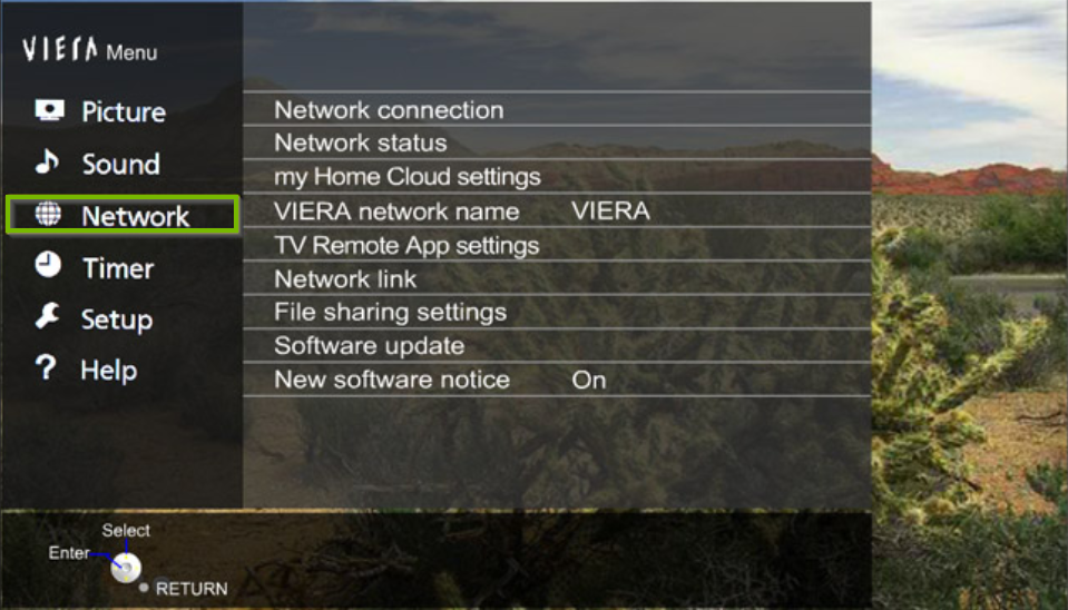 Panasonic TV menu with the network option highlighted.