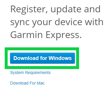 Download for windows button on garmin's web site