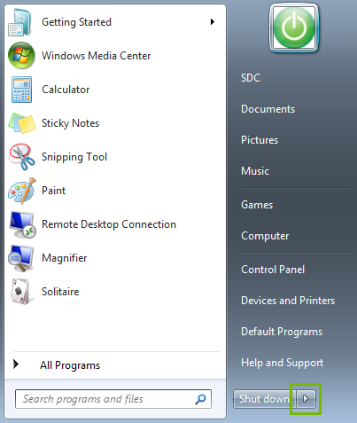 Start Menu with the arrow button highlighted