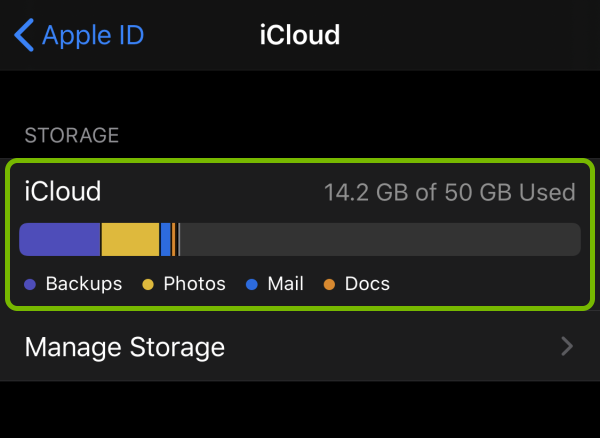 Data allocation highlighted in iCloud storage settings.
