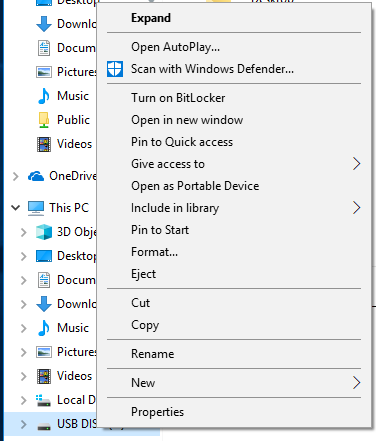 USB Disk Right-Click menu.