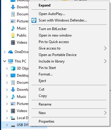 USB Disk Right-Click menu.