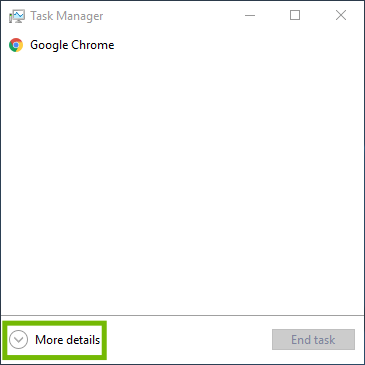 Task Manager with More details highlighted.