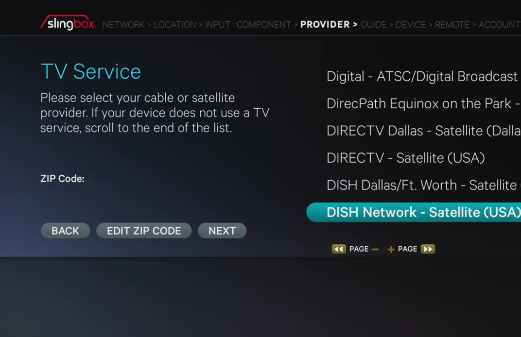 TV service screen