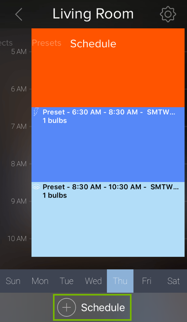Add Schedule option highlighted in ilumi app.