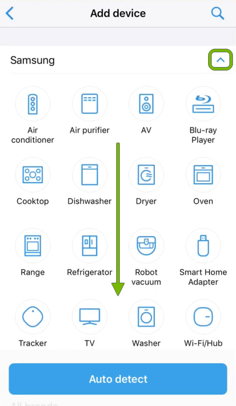 Collapse arrow highlighted with arrow showing scroll direction on device brand selection list in SmartThings app.