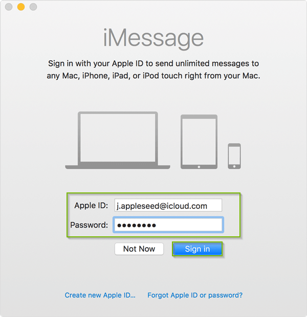 iMessages sign in