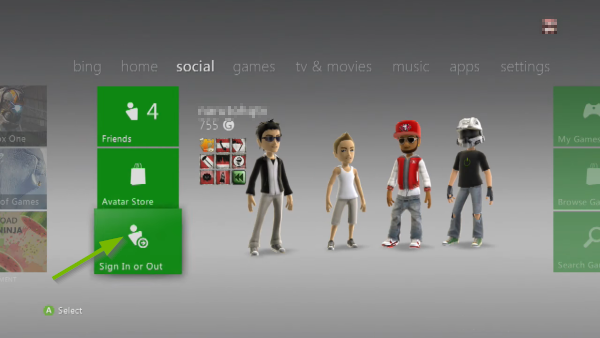 Sign In or Out option pointed out in Social menu on Xbox 360.