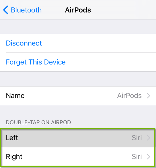 AirPods properties screen with Double-tap on AirPod settings highlighted. Screenshot.