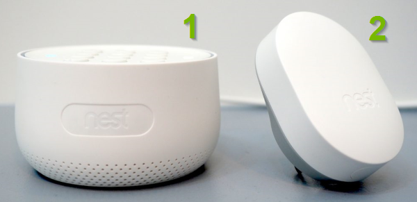 Nest Guard and Nest Connect side by side.