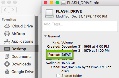 Filesystem highlighted on USB drive info popup.