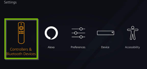Fire TV menu with Controllers and Bluetooth Devices option selected. Screenshot.