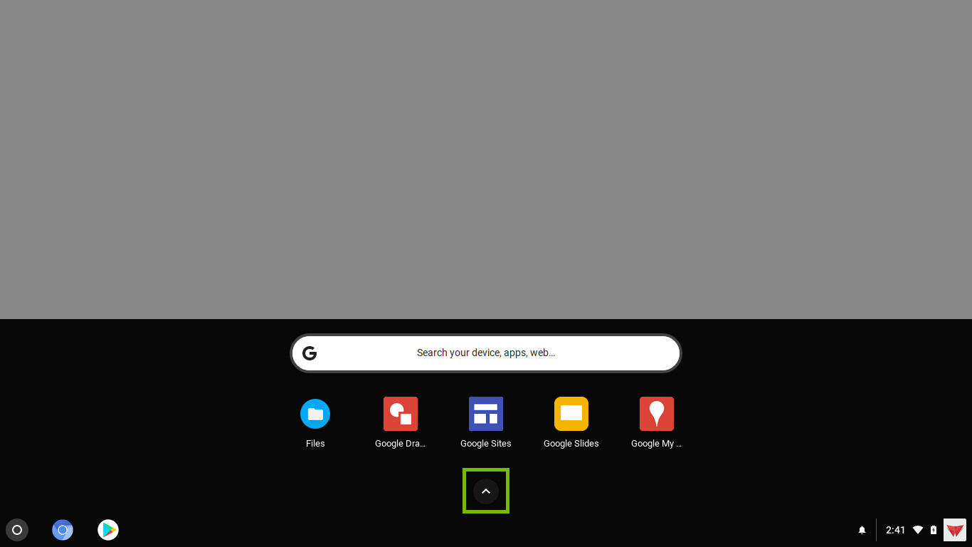 apps drawer with show all icon highlighted