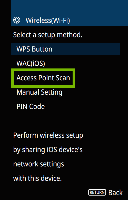 Wireless screen with Access point scan highlighted.